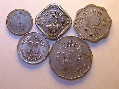 India - Republic  1 , 5 , 10 , 25  Paise  &  2  Rupees 1957 - 2000