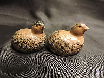 Pair of Vintage Small Ceramic Quail Figurines Made in Japan