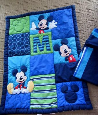 """Disney Appliqued """"M is for MICKEY"""" Baby CRIB QUILT Comforter & Skirt  Excellent!"""