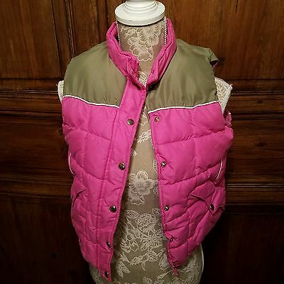 Cowgirl Hardware Pink Green Quilted Puffer Vest Snap Front Sz Girls XL