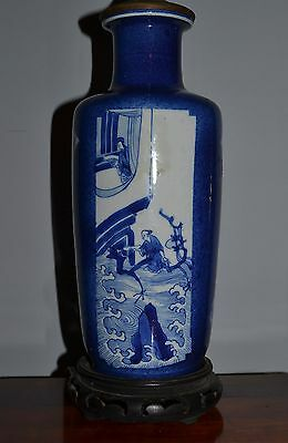 Antique Kangxi Chinese Powder Blue Rouleau Vase Lamp AS IS
