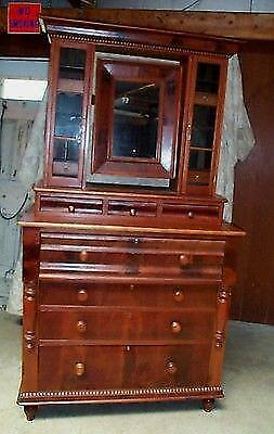 Cherry Empire Chest of Drawers with Mirror and a Six Pane Top Antique One Piece
