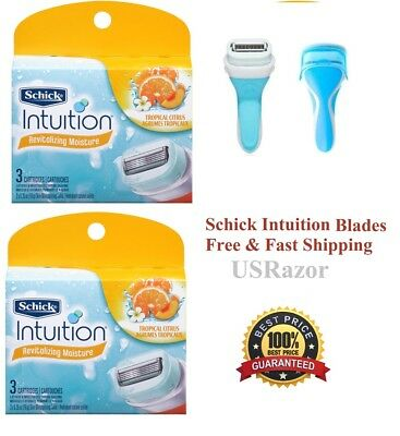 ~7 Schick intuition Razor Blades Tropical Citrus Refill Cartridges Shaver Handle