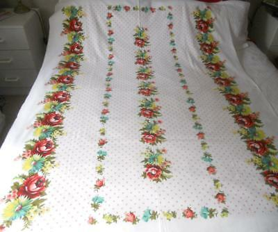 Vintage 1960S Printed Cotton Table Cloth White Pink Spots Flower Borders