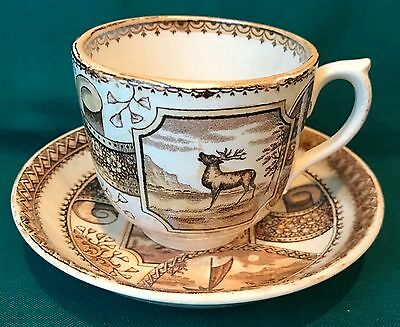 """Aesthetic Transferware Cup and Saucer - """"Stag"""" Brown & White"""
