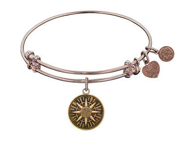 Angelica Collection Antique Pink Smooth Finish Brass compass Expandable Bangle
