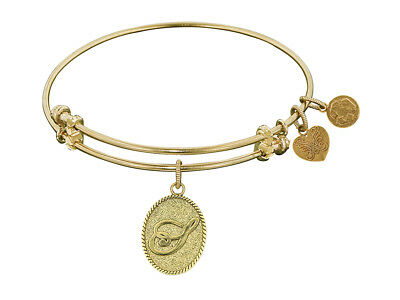 Angelica Non-antique Yellow Stipple Finish Brass Initial s Expandable Bangle