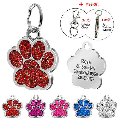 Paw Personalized Dog Tags Custom Large Dog Pet ID Name Tag Engraved Free Whistle