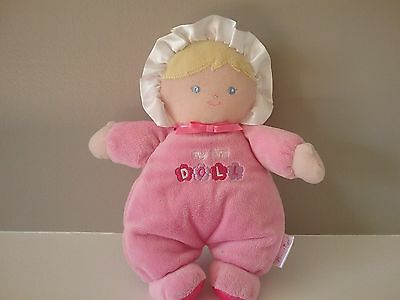Prestige Baby Girl Plush My First Doll Lovey Pink Stuffed Toy Blonde Hair Rattle