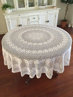 Vintage Crochet Round Tablecloth - Off-white