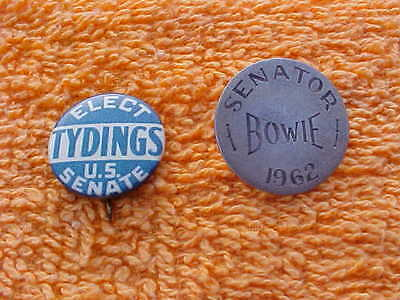 Pair Vintage Senator Bowie and Tydings from Maryland  campaign pinbacks