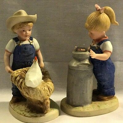HOMCO DENIM DAYS DANNY and DEBBIE FIGURINES #1501 Morning Chores Set Of Two (2)