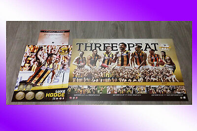 Official Hawthorn Hawks Hand Signed Luke Hodge Print + Coa + Three Peat Poster
