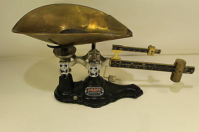Antique Ohaus Seed Scale Mercantile Feed Metric Tare Table Top Brass Model 14