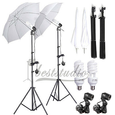 2 x 33'' Photo Studio Fluorescent Lighting Umbrella Lamp Photography Stand Kit