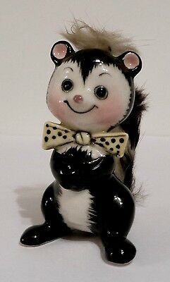 Vintage UCAGCO Skunk Figurine w/ Real Rabbit Fur Accents - Japan - Super cute