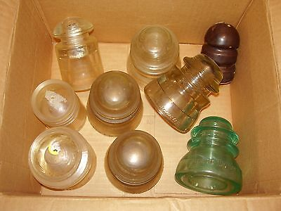 9  Vintage Glass Electrical Phone Wire Insulators