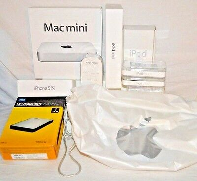 lot of 9 varied apple product boxes and 1 bag