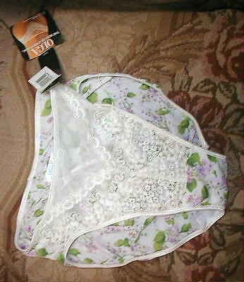 Vintage OLGA Silky Panties 1990s Lace, High Cut, Purple Florals NWT Size Large