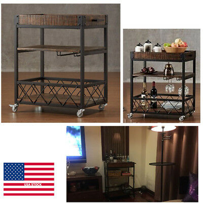Kitchen Trolley Cart Island Shelves Rolling Serving Home Wood Storage Rack Brown
