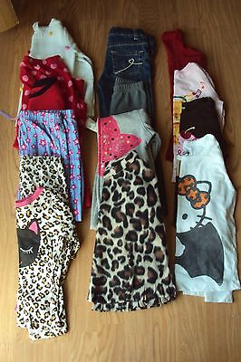 Girls 14 Pc Fall Winter Lot Jeans Shirts Poncho Hoodie Sweater PJ's 4T (#6)