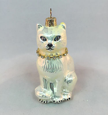 Vintage Persian White Cat Kitty Crystal Bejeweled Collar Glass Ornament Poland