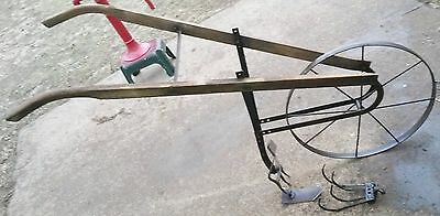 Antique Vintage Push Plow Cultivator High Wheel,w/ attachments included - NICE!