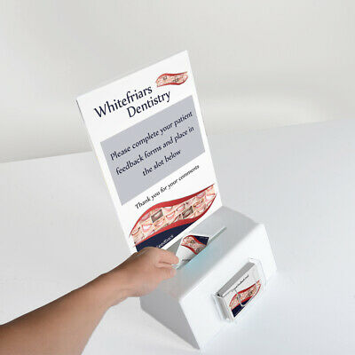 Acrylic Suggestion Box in White | Collection Box | A4 Poster Trap - Made In Uk