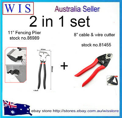 2 in 1 set 8 inch Cable & Wire Cutter and 11 inch Fencing Plier