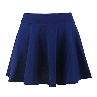 Moxeay Women's Basic A Line Pleated Circle Stretchy Flared Skater Skirt Large Bl