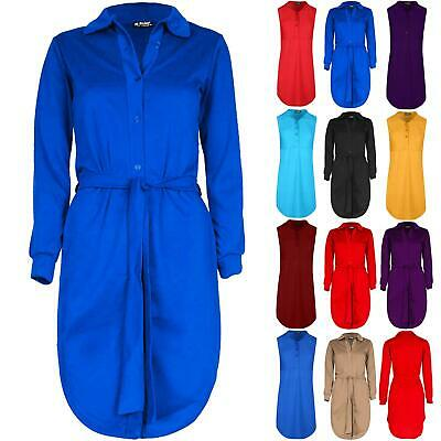 Ladies Women Button Down Long Sleeve Collared Belted Curved Hem Shirt Mini Dress