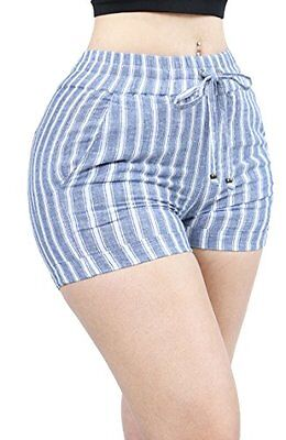 Women Hot Weather Casual Dressy Drawstring Skirt Shorts Pants SMALL SKYBLUE-L269