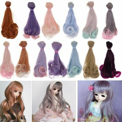 15cm Long DIY Colorful Ombre Curly Wave Doll Wigs Synthetic Hair For Dolls