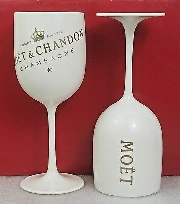 MC Moet Chandon Ice Imperial off White Acrylic Champagne Glass Set of 2 glasses