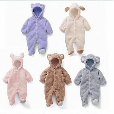 Newborn Baby Boys Girls Bear Romper Hooded Jumpsuit Bodysuit Clothes Outfits