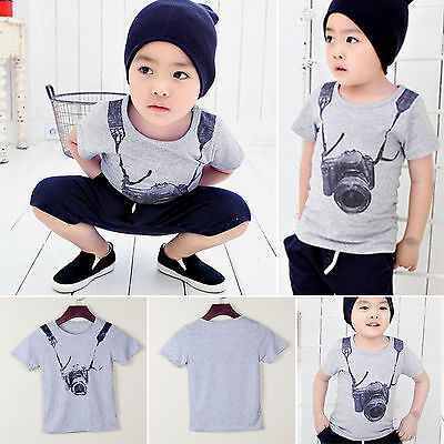 Kids Boys T-shirt Short Sleeve Casual Sports Tops Shirts Summer Clothes 2-8Years