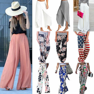 Women Ladies Trousers Yoga Palazzo Wide Leg High Waist Long Loose Casual Pants