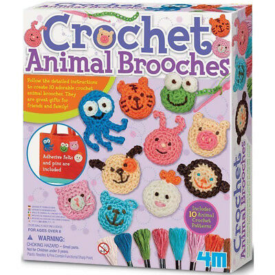 4M Learn to Crochet Animal Brooches Kids Craft Set - Crochet for Kids
