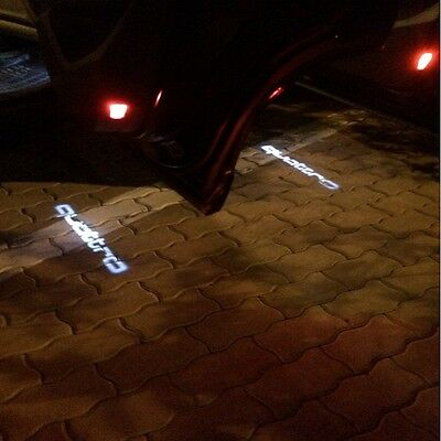2X QUATTRO Led Door Cree Light Laser Projector Welcome Logo Emblem HD For AUDI
