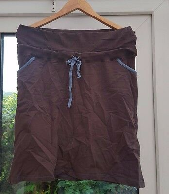 JoJo Maman Bebe - Brown Stretch Maternity Skirt With Blue Details - Size M