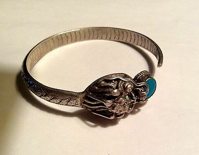Vintage Chinese silver turquoise dragon head bracelet