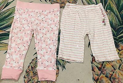2x Baby Girls Size 0 Leggings