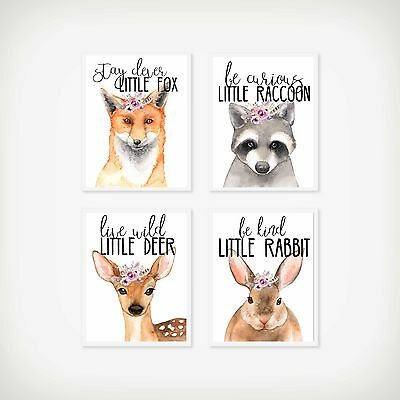 Set of 4 Nursery/home wall decor print woodland animals fox/deer/raccoon/rabbit