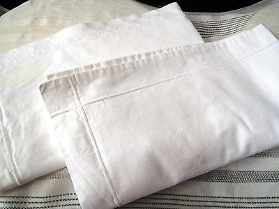 PAIR French Unused Vintage 62cms x57cms Linen Union square pillow cases
