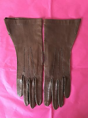 Vintage 40s Dents Leather Gauntlet Driving Gloves Silk Lined 1940s Chic Pinup