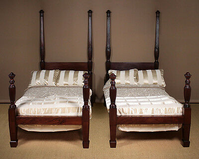 Antique Pair Mahogany Four Poster Single Beds c.1890