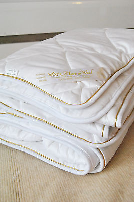 ELEGANT GOLD Merino Wool Pure DUVET BED COVE QUILT Natural ALL SIZES GIFT 250gsm
