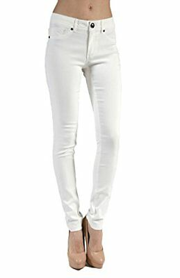 2LUV Women's Skinny Stretch Bengaline Ponte Pants Off White S, New