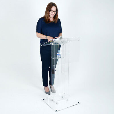 Acrylic Lectern | School Church Lectern with Fascia | Book Stand Podium Clear