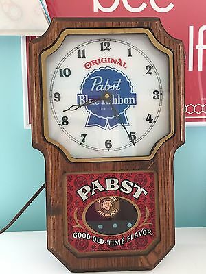 Vintage 1960's Pabst Blue Ribbon PBR Beer Lighted Pendulum Wall Clock Sign